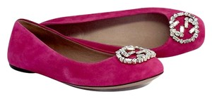 Gucci Pink Sparkling Suede Ballet Flats