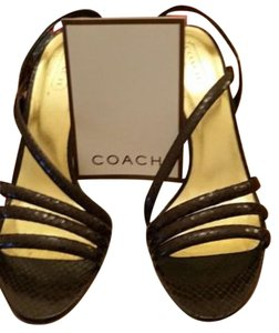 Coach Python Leather Strappy Brown Pumps