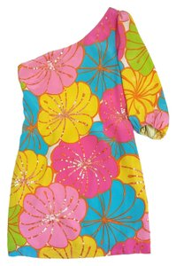 Lilly Pulitzer short dress Multi Color Floral Silk One on Tradesy