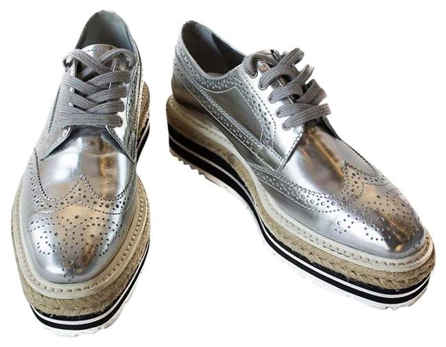 Item - Silver Metallic Leather Creeper Brogue Espadrilles Platforms Size US 7 Narrow (Aa, N)