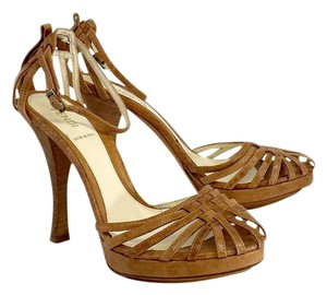 Fendi Tan Leather Heels Sandals