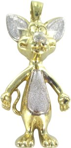 Other 10KT SOLID WHITE YELLOW GOLD PENDANT PINKY THE MOUSE CARTOON ANIME COMIC TV SHOW