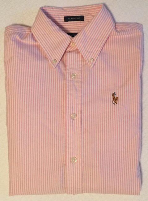 Ralph Lauren Polo Classic Oxford Oxford Oxford Polo Button Down Shirt Pink Image 9