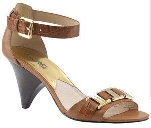 Michael Kors Embossed Leather Brown Leather Gognac Sandals