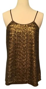Banana Republic Crisscross Top Bronze sequin front plain back, finger tip LEGNTH, crisscrossed back
