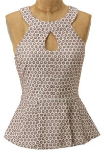 Anthropologie Peplum Brown & Ivory Halter Top