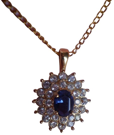 roman Blue sapphire w/crystals necklace