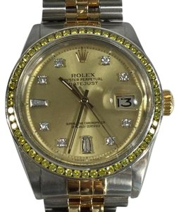 Rolex Rolex 1601 Two Tone Datejust Diamond Dial 14kt Yellow Gold Watch