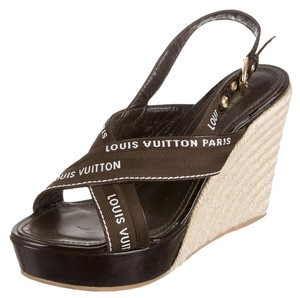Louis Vuitton Ankle Strap Logo Embroidered Brown, White Wedges