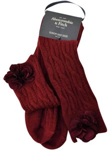 Abercrombie & Fitch Wool Chunky Cable Slouchy Boot Socks with Tonal Foral Embellishment