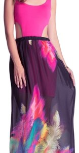 Pink black blue cream yellow white green Maxi Dress by bebe