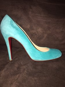Christian Louboutin Suede 100 Teal Pumps