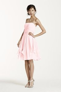 David's Bridal Petal/Pink Strapless Crinkle Chiffon Dress