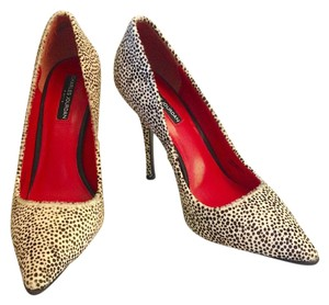 Charles Jourdan Cheetah Calf Hair Textured Cream & Brown Pumps