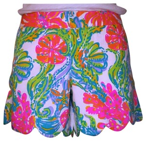 Lilly Pulitzer Pink Colony Mini/Short Shorts resort white case marina