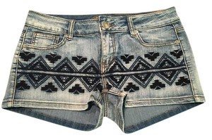 Francesca's Embroidered Denim Shorts-Medium Wash