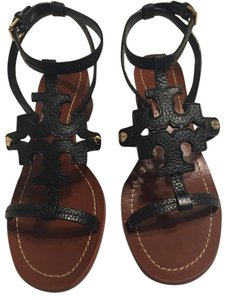 Tory Burch Tumbled Leather Black Sandals