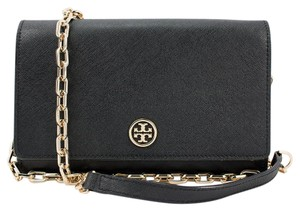 Tory Burch Tory Burch Black Crossbody - Robinson Saffiano Wallet on a Chain