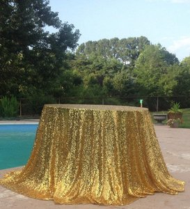 2 Pieces Gold Round Sequine Table Cloth