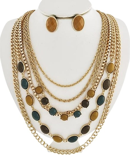 LE CIEL Gold Tone Brown & Green Acrylic Necklace & Earrings