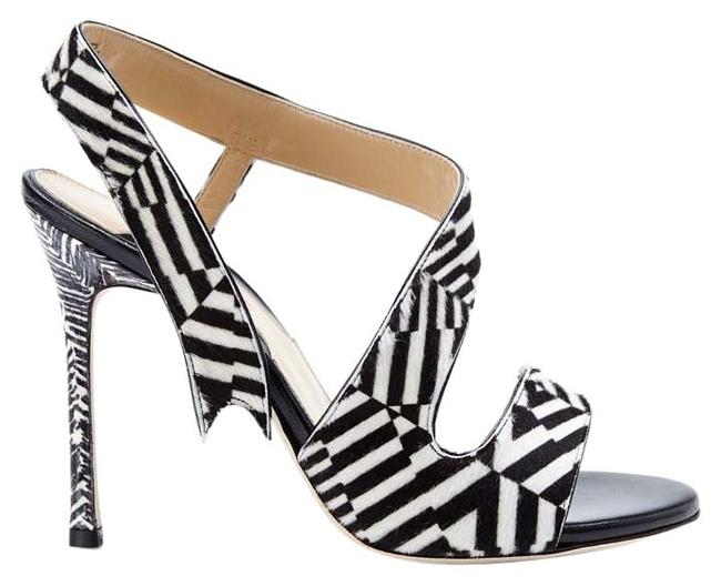 Item - New Made In Italy Genuine Calf Hair Zebra Print Sandals Size US 6.5