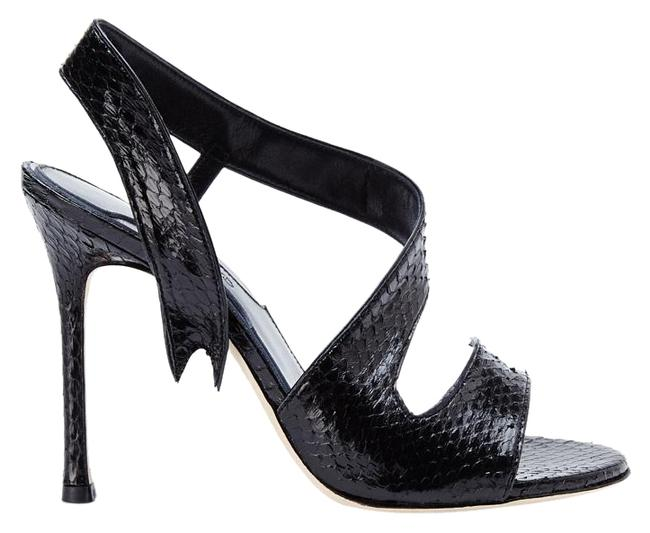 Item - Black New Made In Italy Genuine Snakeskin Leather Sandals Size US 8.5
