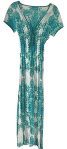 White and Teal Maxi Dress by Melissa Odabash V-neck Long Summer Maxi