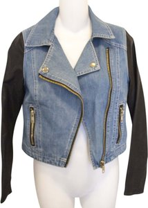 Epique Moi Faux Leather Leater Denim Motorcycle Jacket