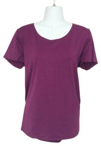 New York & Company Scoop Neck Short Sleeves Shirt Xl Top Purple