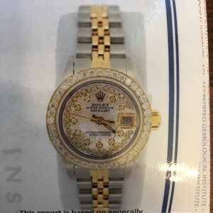 Rolex Two-tone Silver and Gold Ladies Diamond Bracelet
