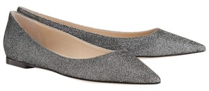 Jimmy Choo Pointed Toe Glitter Classic Sparkle Anthracite Flats