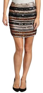 Romeo & Juliet Couture Beaded Sequins Mini Skirt Multi-Colored/black