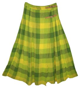 United Colors of Benetton Wrap A-line Plaid Scottish Skirt