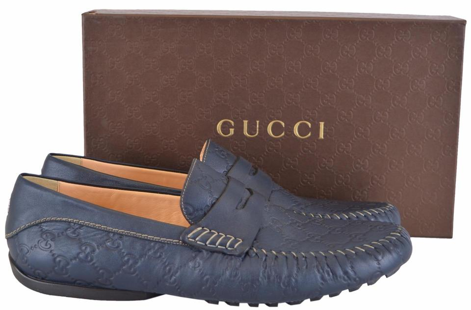 4e7afdf9057 Gucci Blue New Men s 170618 Leather Gg Guccissima Drivers Loafers Flats  Size US 12.5 Regular (M