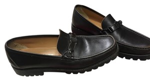 Salvatore Ferragamo Driving Men's Leather Made In Italy Brown Leather Flats