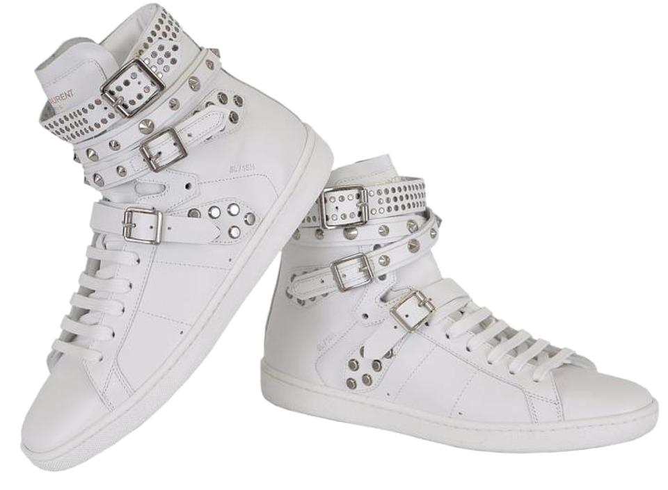 eaaf7c5bca Saint Laurent White Yves Ysl Women's Studded Court Classic Hi Top Sneakers  Size US 5.5 Regular (M, B) 59% off retail