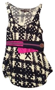 A Common Thread Edgy Boho Top Black and white with a multi color belt