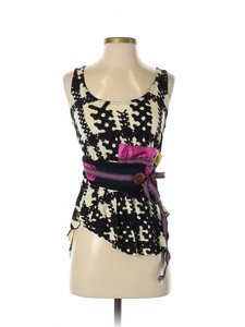 Anthropologie Edgy Boho Bohemian Top Black and white with a multi color belt