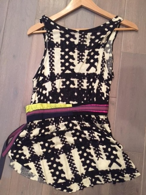 Anthropologie Edgy Boho Bohemian Top Black and white with a multi color belt Image 4