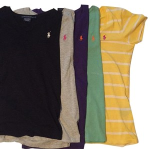 Polo Ralph Lauren T Shirt Black, gray, purple, yellow, seafoam green
