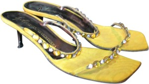 Giuseppe Zanotti Rhinestone Satin Leather Gold Sandals