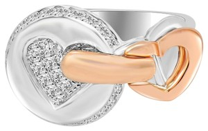 Avi and Co 0.50 cttw Ladies Round Brilliant Cut Diamond Pave Hearts Ring 14K Two Tone Gold