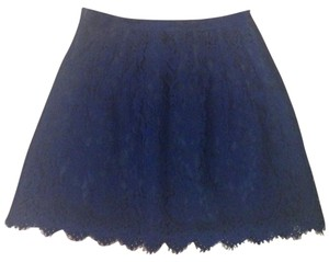J.Crew Lace A-line Scalloped Mini Skirt Navy