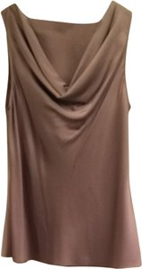 Banana Republic Cowl Neck Sleeveless Professional Neutral Silk Top Taupe
