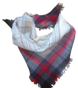 Other Vintage ivory/red/black plaid fringed wool scarf