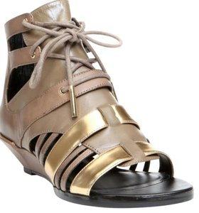 DMSX Donald J. Pliner Khaki/ Pale Gold Wedges