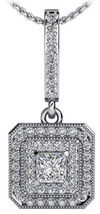 Avi and Co 0.56 cttw Princess & Round Cut Diamond Double Halo Pendant 14K White Gold
