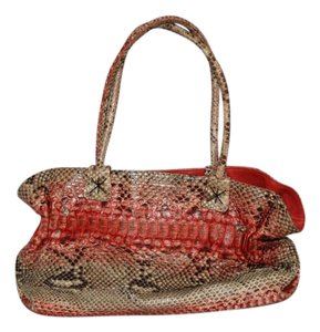 Carlos Falchi Cream Taupe Snakeskin Tote in multicolor