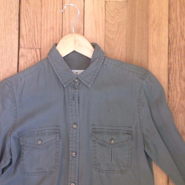 American Eagle Outfitters Army Collared Cotton Button Down Shirt Olive Green Image 1