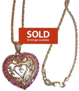 7 Diamonds Diamond Pink Sapphire Mother of Pearl 14k Gold Heart Necklace